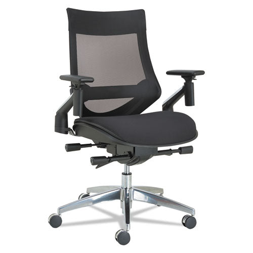 Alera Eb-w Series Pivot Arm Multifunction Mesh Chair, Supports Up To 275 Lbs, Black Seat-black Back, Aluminum Base