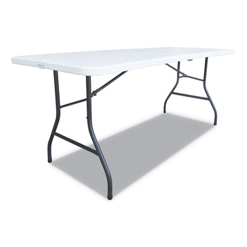 Fold-in-half Resin Folding Table, 60w X 29 5-8d X 29 1-4h, White