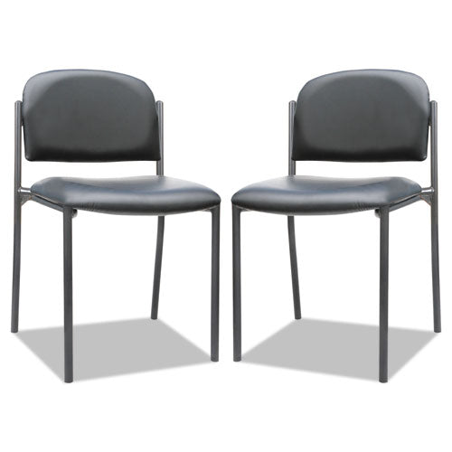 Alera Sorrento Series Stacking Guest Chair, Armless, Black Seat-black Back, Black Base, 2-carton