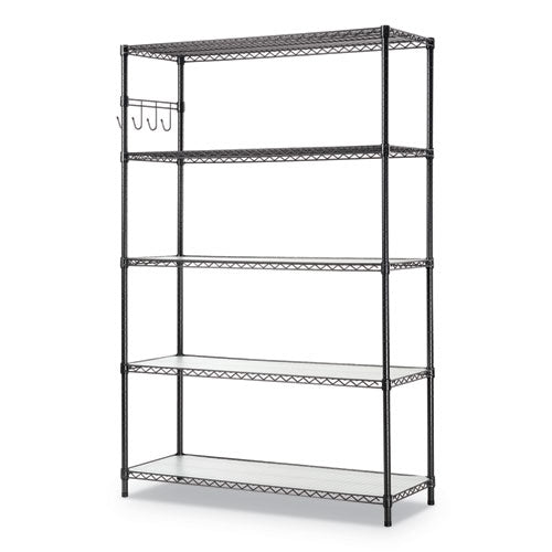5-shelf Wire Shelving Kit With Casters And Shelf Liners, 48w X 18d X 72h, Black Anthracite