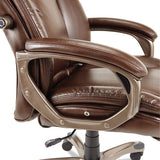 Alera Veon Series Executive High-back Leather Chair, Supports Up To 275 Lbs., Brown Seat-brown Back, Bronze Base