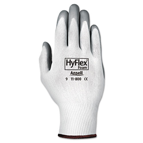 Hyflex Foam Gloves, White-gray, Size 8, 12 Pairs