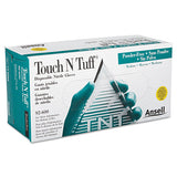 Touch N Tuff Nitrile Gloves, Teal, Size 7 1-2 - 8, 100-box