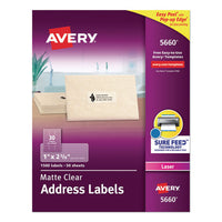 Matte Clear Easy Peel Mailing Labels W- Sure Feed Technology, Laser Printers, 1 X 4, Clear, 20-sheet, 50 Sheets-box