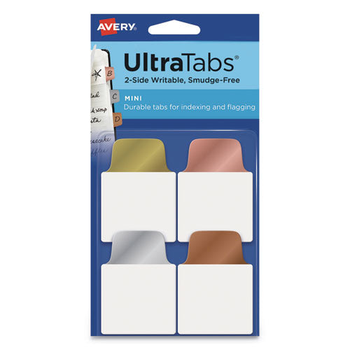 "Ultra Tabs Repositionable Mini Tabs, 1-5-cut Tabs, Assorted Metallic, 1"" Wide, 40-pack"