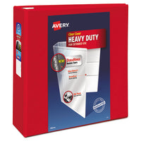 "Heavy-duty View Binder With Durahinge And Locking One Touch Ezd Rings, 3 Rings, 4"" Capacity, 11 X 8.5, Red"