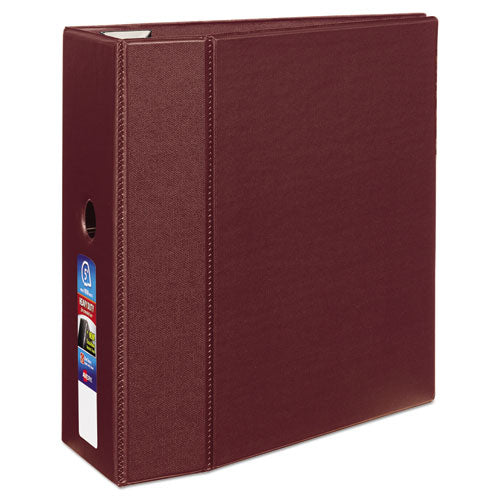 "Heavy-duty Non-view Binder With Durahinge, Three Locking One Touch Ezd Rings And Thumb Notch, 5"" Capacity, 11 X 8.5, Maroon"