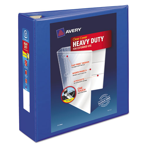 "Heavy-duty View Binder With Durahinge And Locking One Touch Ezd Rings, 3 Rings, 3"" Capacity, 11 X 8.5, Pacific Blue"