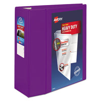 "Heavy-duty View Binder With Durahinge And Locking One Touch Ezd Rings, 3 Rings, 5"" Capacity, 11 X 8.5, Purple"