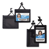 Id Badge Holder W-convention Neck Pouch, Horizontal, 4 X 2 1-4, Black, 12-pack