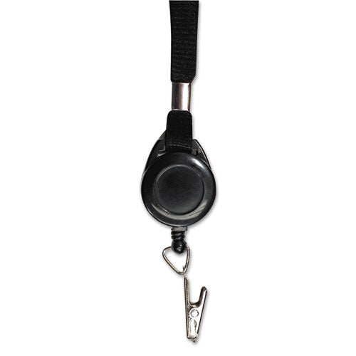 "Lanyards With Retractable Id Reels, Clip Style, 34"" Long, Black, 12-carton"