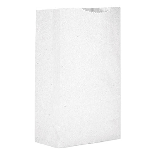 "Grocery Paper Bags, 30 Lbs Capacity, #2, 4.31""w X 2.44""d X 7.88""h, White, 500 Bags"