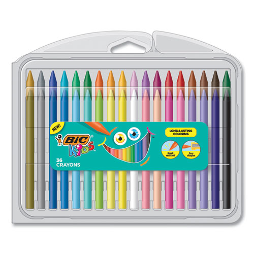 Kids Coloring Crayons, 36 Assorted Colors, 36-pack