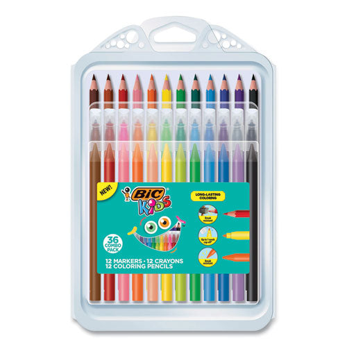 Kids Coloring Combo Pack In Durable Case, 12 Each: Colored Pencils, Crayons, Markers