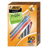 Round Stic Xtra Life Stick Ballpoint Pen Value Pack, 1 Mm, Black Ink, Smoke Barrel, 60-box