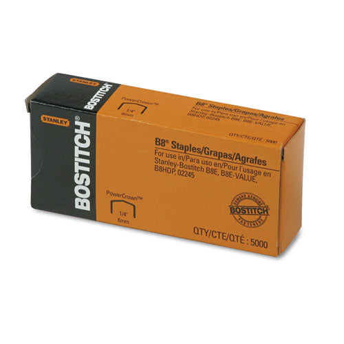 "B8 Powercrown Premium Staples, 0.25"" Leg, 0.5"" Crown, Steel, 5,000-box"