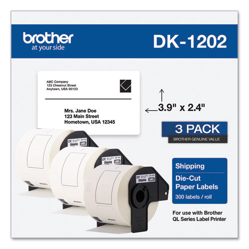 Die-cut Shipping Labels, 2.4 X 3.9, White, 300-roll, 3 Rolls-pack