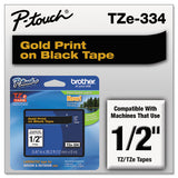 "Tze Standard Adhesive Laminated Labeling Tape, 0.47"" X 26.2 Ft, Gold On Black"
