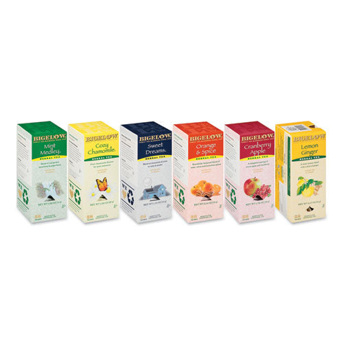 Assorted Tea Packs, Six Flavors, 28-box, 168-carton