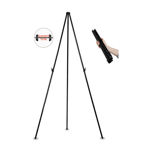 "Instant Easel, 61 1-2"", Black, Steel, Heavy-duty"