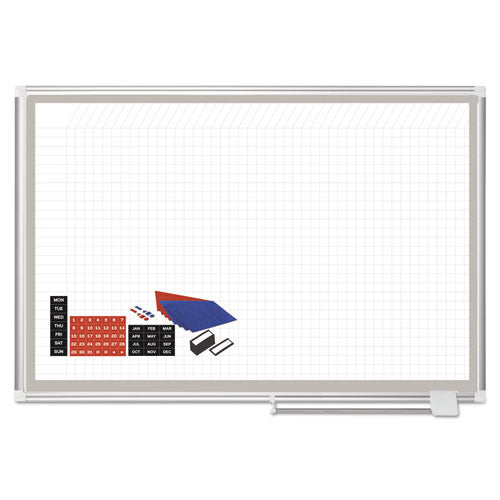 All Purpose Magnetic Planning Board, 1 X 1 Grid, 48 X 36, Aluminum Frame