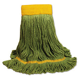 Ecomop Looped-end Mop Head, Recycled Fibers, Large Size, Green, 12-carton