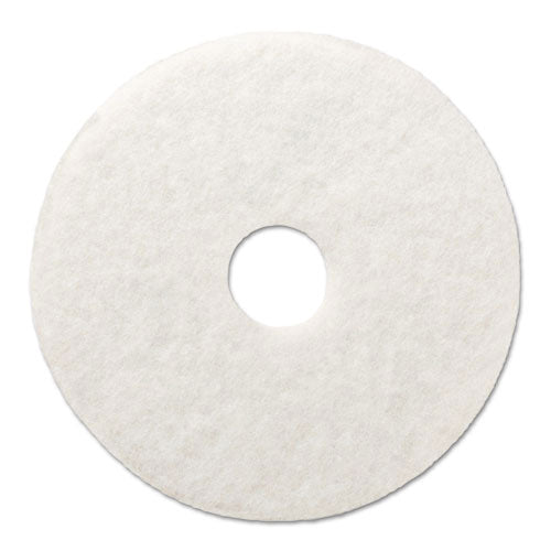 "Polishing Floor Pads, 13"" Diameter, White, 5-carton"