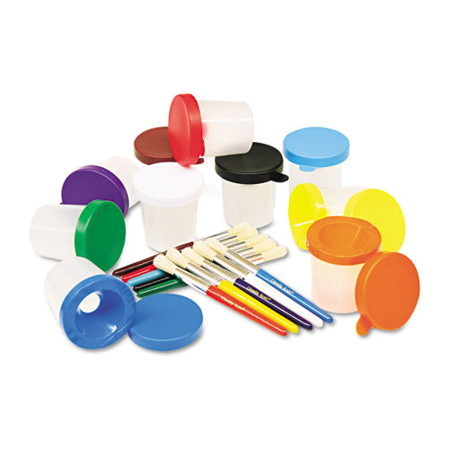 No-spill Cups & Coordinating Brushes, Assorted Colors, 10-set