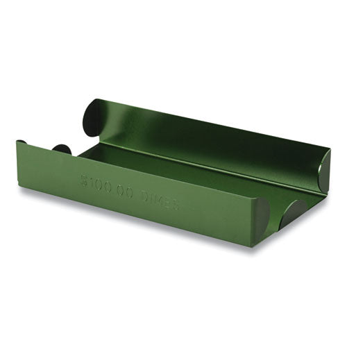 Metal Coin Tray, Dimes, 3.5 X 10 X 1.75, Green