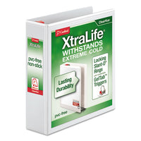 "Xtralife Clearvue Non-stick Locking Slant-d Ring Binder, 3 Rings, 2"" Capacity, 11 X 8.5, White"