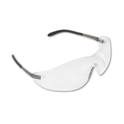 Blackjack Wraparound Safety Glasses, Chrome Plastic Frame, Clear Lens