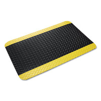 Industrial Deck Plate Anti-fatigue Mat, Vinyl, 36 X 60, Black-yellow Border
