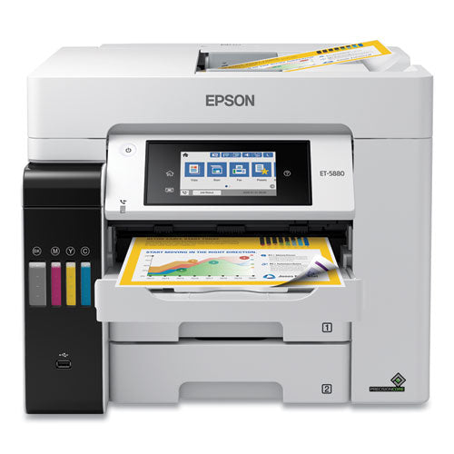 Ecotank Pro Et-5880 All-in-one Supertank Printer, Copy-print-fax-scan