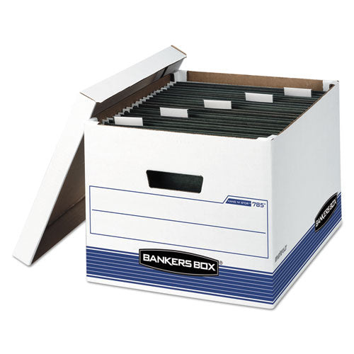 "Hang'n'stor Medium-duty Storage Boxes, Letter-legal Files, 13"" X 16"" X 10.5"", White-blue, 4-carton"