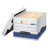 "Stor-file Medium-duty Letter-legal Storage Boxes, Letter-legal Files, 12.75"" X 16.5"" X 10.5"", White-blue, 12-carton"
