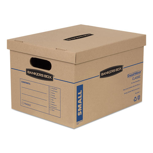 "Smoothmove Classic Moving & Storage Boxes, Small, Half Slotted Container (hsc), 15"" X 12"" X 10"", Brown Kraft-blue, 20-carton"