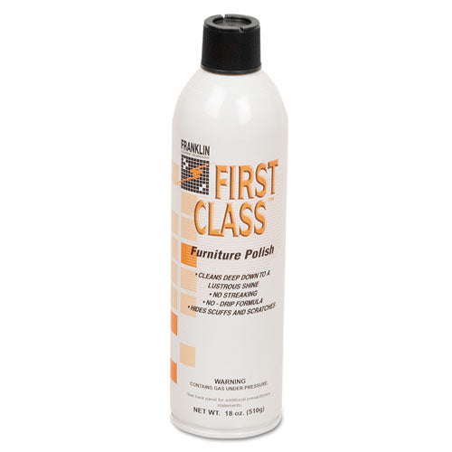 First Class Furniture Polish, Floral Scent, 18 Oz Aerosol Can, 12-carton