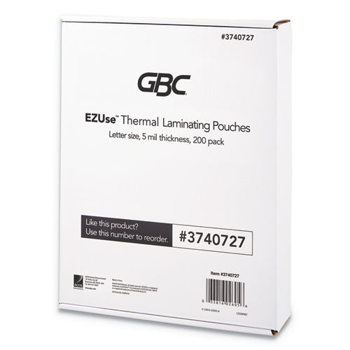 "Ezuse Thermal Laminating Pouches, 5 Mil, 8.5"" X 11"", Gloss Clear, 200-pack"