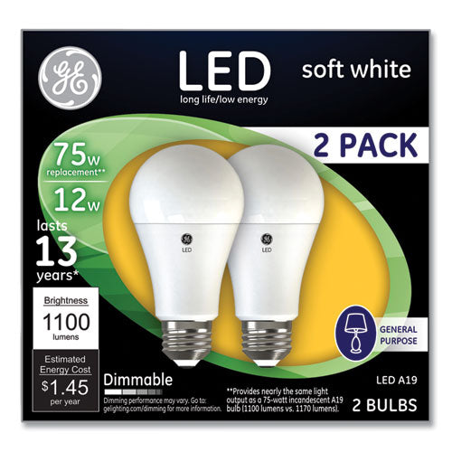 75w Led Bulbs, 12 W, A19 Bulb, Soft White, 2-pack