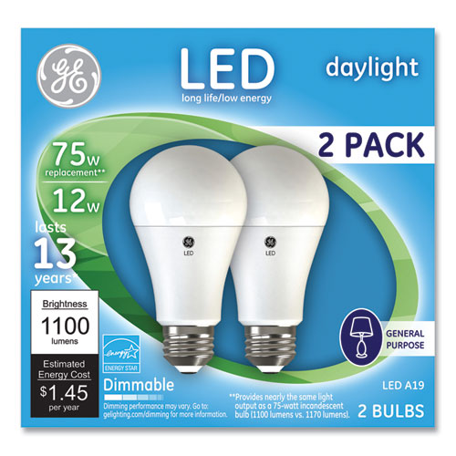 75w Led Bulbs, 12 W, A19 Bulb, Daylight, 2-pack