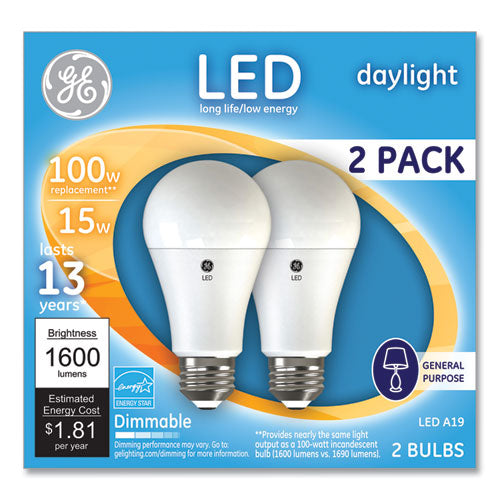 100w Led Bulbs, 15 W, A19, Daylight, 2-pack