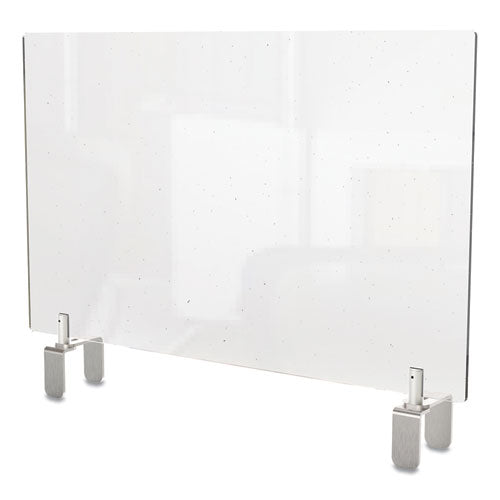 Clear Partition Extender With Attached Clamp, 29 X 3.88 X 18, Thermoplastic Sheeting