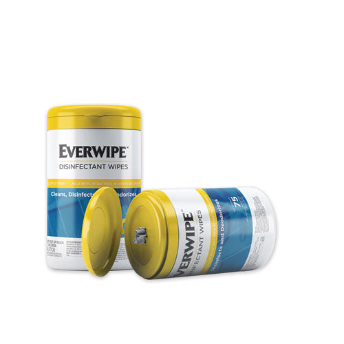 Everwipe Disinfectant Wipes, 7 X 7, 75-canister, 6-carton