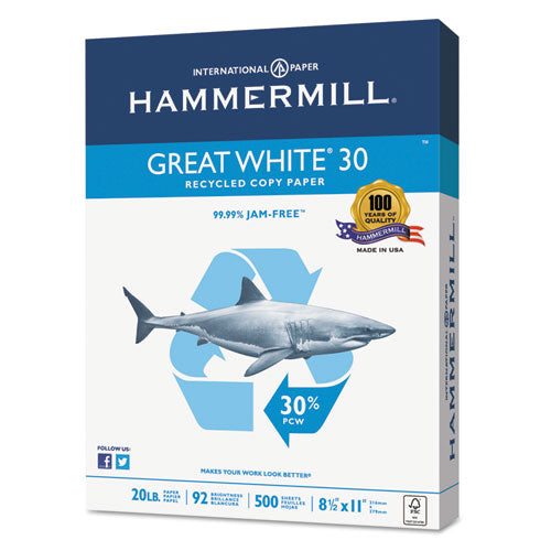 Great White 30 Recycled Print Paper, 92 Bright, 20lb, 8.5 X 11, White, 500 Sheets-ream, 5 Reams-carton