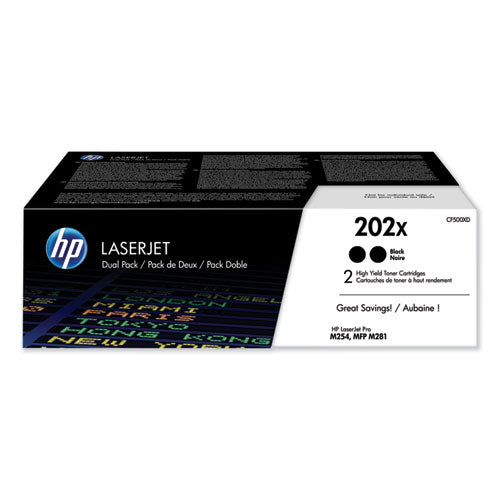 Hp 202x, (cf500xd) 2-pack High Yield Black Original Laserjet Toner Cartridge
