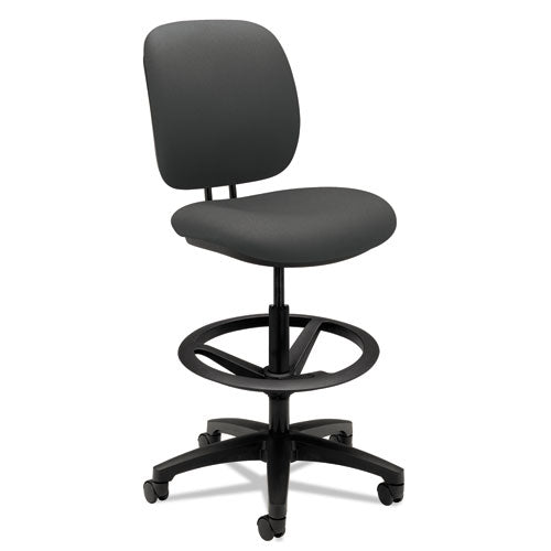 "Comfortask Task Stool With Adjustable Footring, 32"" Seat Height, Supports Up To 300 Lbs, Iron Ore Seat-back, Black Base"