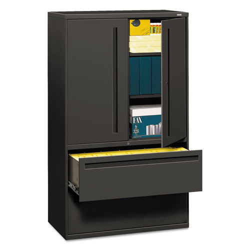 700 Series Lateral File With Storage Cabinet, 42w X 18d X 64.25h, Charcoal
