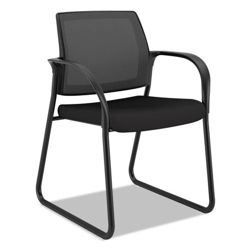 "Ignition Series Mesh Back Guest Chair With Sled Base, 25"" X 22"" X 34"", Black Seat, Black Back, Black Base"