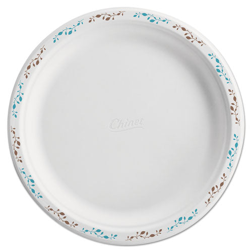 "Molded Fiber Dinnerware, Plate, 10 1-2""dia, Wh, Vines, 125-pack, 4 Packs-carton"
