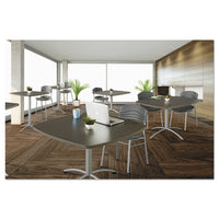 "Iland Table, Contour, Square Seated Style, 42"" X 42"" X 42"", Gray Walnut-silver"
